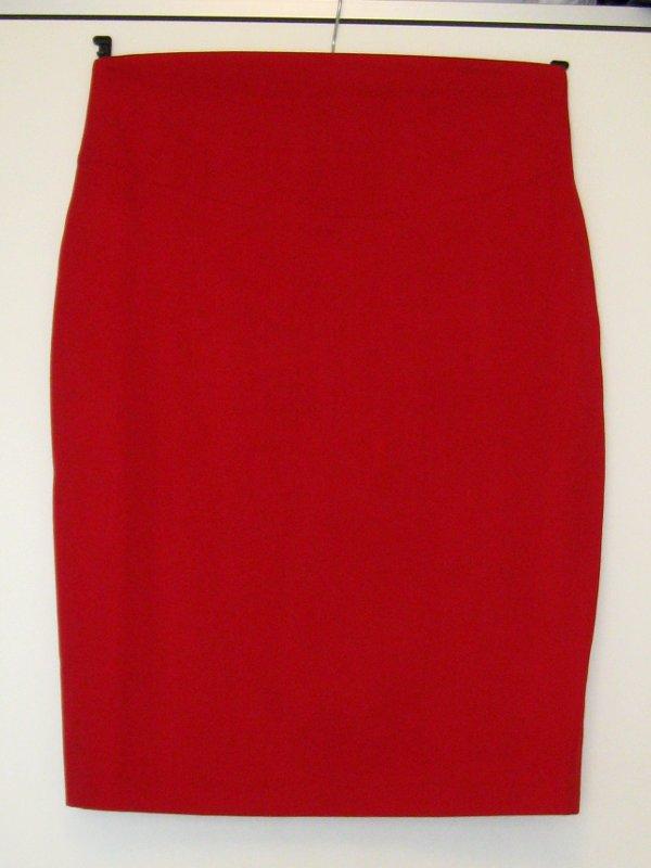 Elfie Szaty » Czerwona spódnica ołówkowa z wysokim stanem
